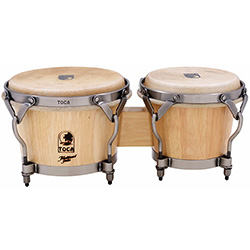 "Toca Traditional Series 7 & 8-1/2"" Wooden Bongos in Natural"