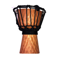 "Toca Wooden Mini Series 4"" Djembe in Carved Cherry Stain Design"