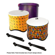 Toca Freestyle 2 Tom Tom Drums in Woodstock Purple, Kente & Lizard Design (6-Pk)