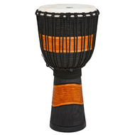 "Toca Street Carved Series Wooden Djembe 10"" Synthetic Head in Black & Brown"