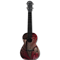 "Kealoha ""Feather Amour"" Design Concert Ukulele with Black ABS Resin Body"