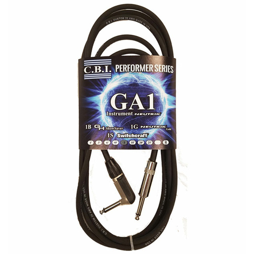 C.B.I. Cables GA1 Series 15ft Instrument Cable with 1 x Right Angle Jack